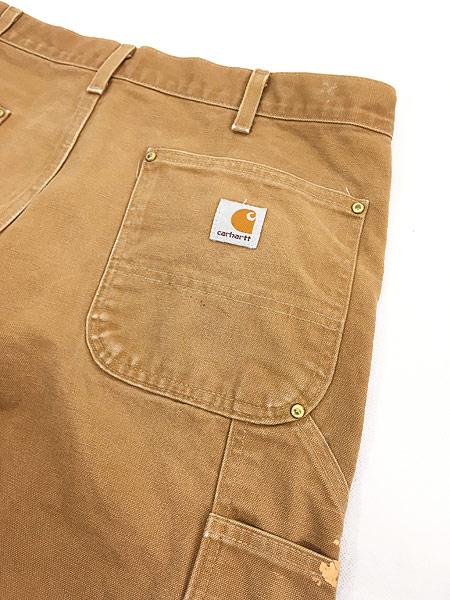 [6] 古着 90s USA製 Carhartt Wニー ブラウン ダック ペンキ ペインター ワーク パンツ W35 L29.5 古着