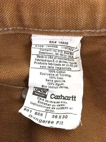 [7] 古着 90s USA製 Carhartt Wニー ブラウン ダック ペンキ ペインター ワーク パンツ W35 L29.5 古着