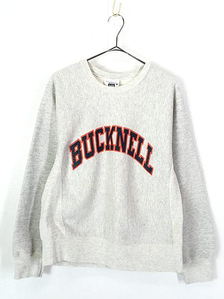 [1] 古着 90s USA製 「BUCKNELL」 アーチ リバース タイプ ヘビー スウェット トレーナー M 古着