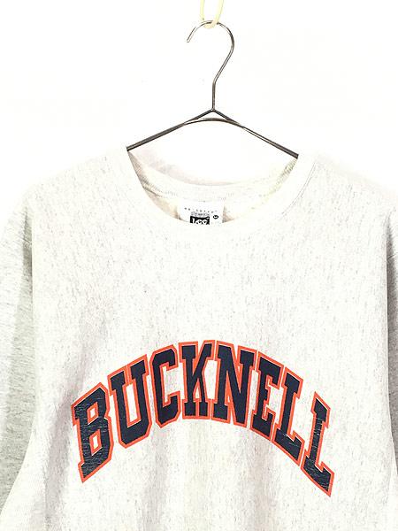 [2] 古着 90s USA製 「BUCKNELL」 アーチ リバース タイプ ヘビー スウェット トレーナー M 古着