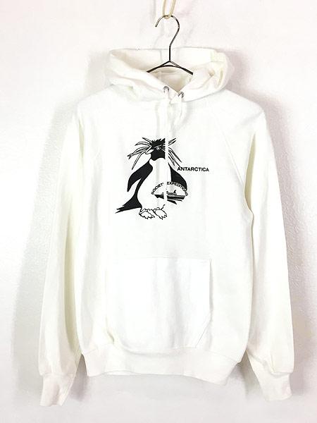 [1] 古着 80s USA製 イワトビペンギン アニマル オールド スウェット パーカー 白 美品!! S位 古着