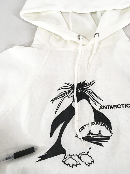 [5] 古着 80s USA製 イワトビペンギン アニマル オールド スウェット パーカー 白 美品!! S位 古着