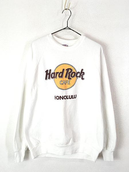 [1] 古着 90s USA製 Hard Rock Cafe ハードロックカフェ オールド スウェット トレーナー 白 XL 古着