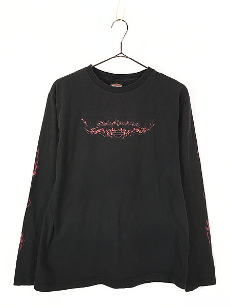 [1] 古着 00s HARLEY DAVIDSON ハーレー ファイヤー パターン ロングスリーブ Tシャツ ロンT L 古着