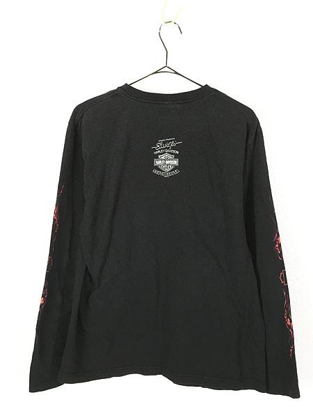 [3] 古着 00s HARLEY DAVIDSON ハーレー ファイヤー パターン ロングスリーブ Tシャツ ロンT L 古着