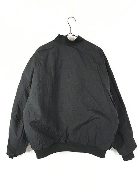 [7] 古着 90s NIKE BIG スウォッシュ キルティング リバーシブル ナイロン パデット ジャケット 黒 L 古着
