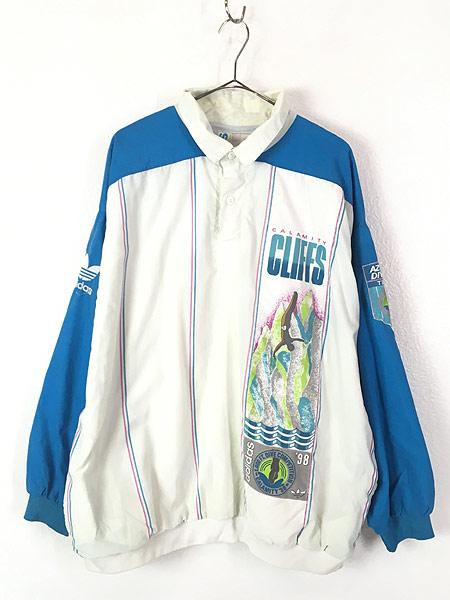 [1] 古着 90s adidas 「CALAMITY CLIFFS」 総柄 パデット プルオーバー ジャケット XXL位 古着