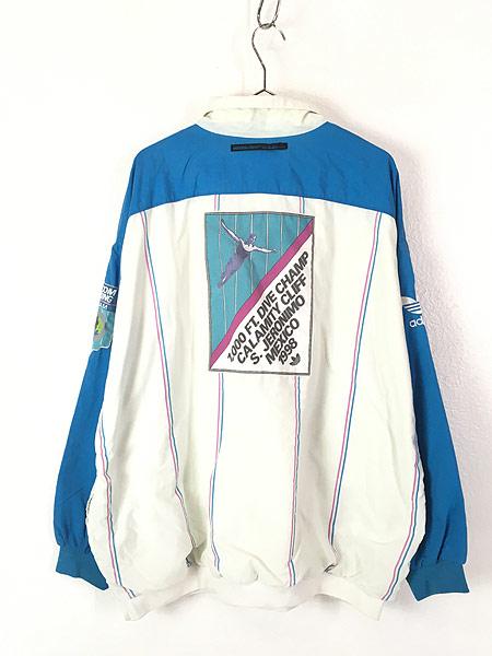 [3] 古着 90s adidas 「CALAMITY CLIFFS」 総柄 パデット プルオーバー ジャケット XXL位 古着