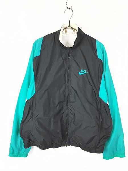 [1] 古着 90s NIKE スウォッシュ ワンポイント 裏地天竺 クレイジー ナイロン ジャケット L 古着