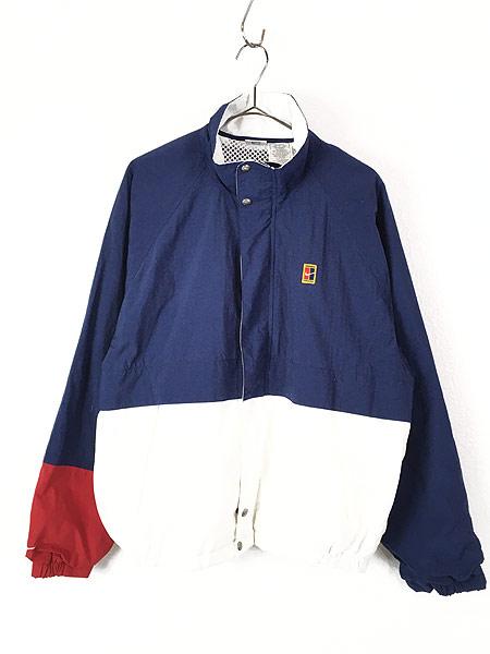 [1] 古着 90s NIKE スウォッシュ ワンポイント 裏地メッシュ トリコロール ナイロン ジャケット L 古着