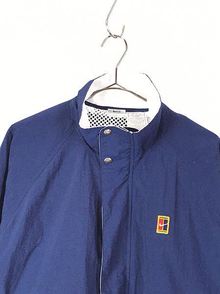 [2] 古着 90s NIKE スウォッシュ ワンポイント 裏地メッシュ トリコロール ナイロン ジャケット L 古着