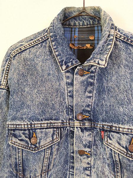 [2] 古着 90s USA製 Levi's 70417 ブルー チェック デニム ブランケット ジャケット Gジャン M 古着