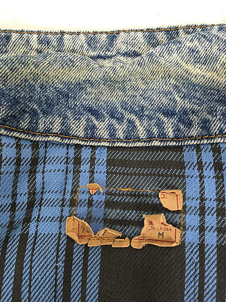 [7] 古着 90s USA製 Levi's 70417 ブルー チェック デニム ブランケット ジャケット Gジャン M 古着