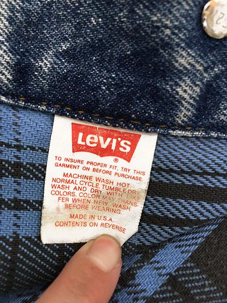 [8] 古着 90s USA製 Levi's 70417 ブルー チェック デニム ブランケット ジャケット Gジャン M 古着