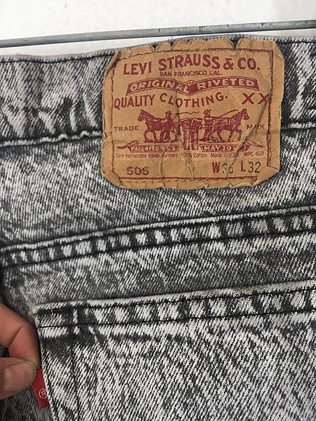 [5] 古着 90s USA製 Levi's 505 ブラック ケミカル デニム パンツ ジーンズ スリム W34 L31 古着