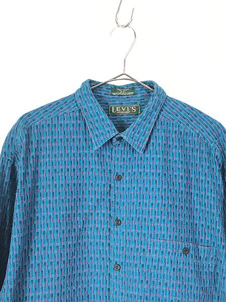[2] 古着 80s USA製 Levi's Big 「E」 マルチ ストライプ オールド デザイン シャツ XL 古着