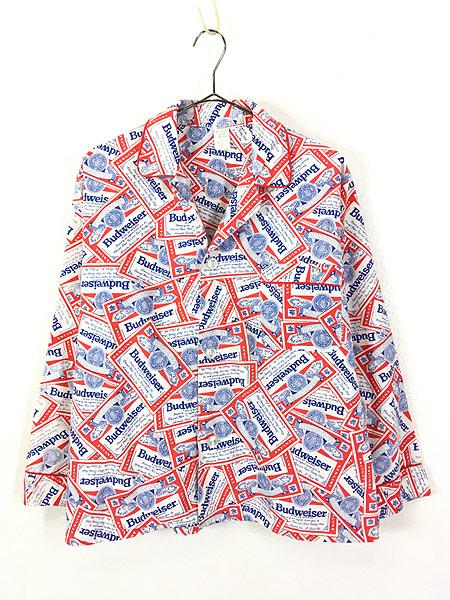 [1] 古着 70s 人気 Budweiser バドワイザー 総柄 オールド パジャマ シャツ M 古着