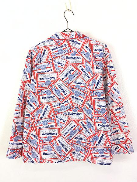 [3] 古着 70s 人気 Budweiser バドワイザー 総柄 オールド パジャマ シャツ M 古着