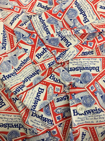 [4] 古着 70s 人気 Budweiser バドワイザー 総柄 オールド パジャマ シャツ M 古着
