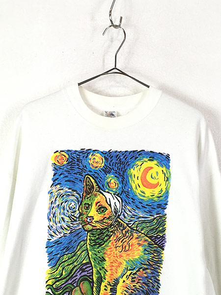 [2] 古着 90s USA製 Vincent Van Gogh 「Van Gogh's Cat」 ゴッホ アート スウェット XL 古着