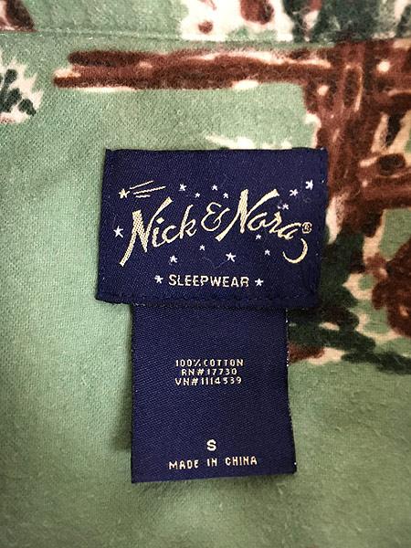 [5] 古着 90s Nick&Nora 「カート コバーン モデル」 カウボーイ 総柄 フランネル パジャマ シャツ S 美品!! 古着