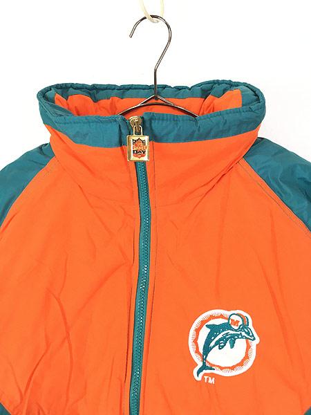 [2] 古着 90s NFL MIAMI Dolphins ドルフィンズ 2way 撥水 パデット ナイロン ジャケット XL 古着