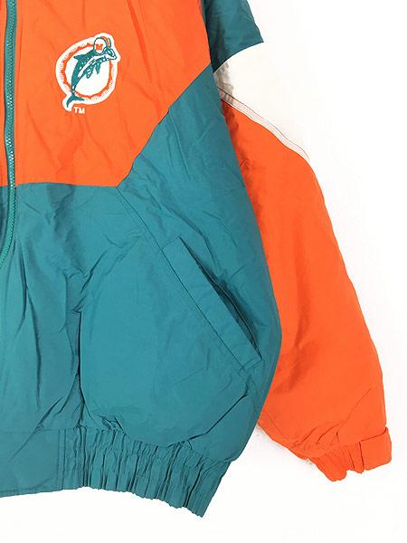 [3] 古着 90s NFL MIAMI Dolphins ドルフィンズ 2way 撥水 パデット ナイロン ジャケット XL 古着