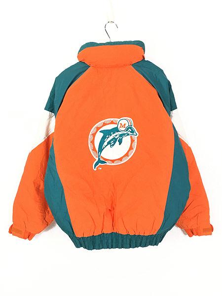[4] 古着 90s NFL MIAMI Dolphins ドルフィンズ 2way 撥水 パデット ナイロン ジャケット XL 古着