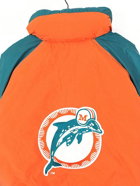 [5] 古着 90s NFL MIAMI Dolphins ドルフィンズ 2way 撥水 パデット ナイロン ジャケット XL 古着