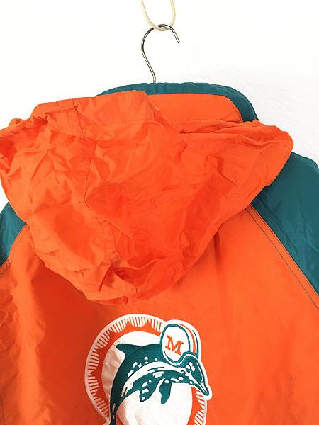 [6] 古着 90s NFL MIAMI Dolphins ドルフィンズ 2way 撥水 パデット ナイロン ジャケット XL 古着