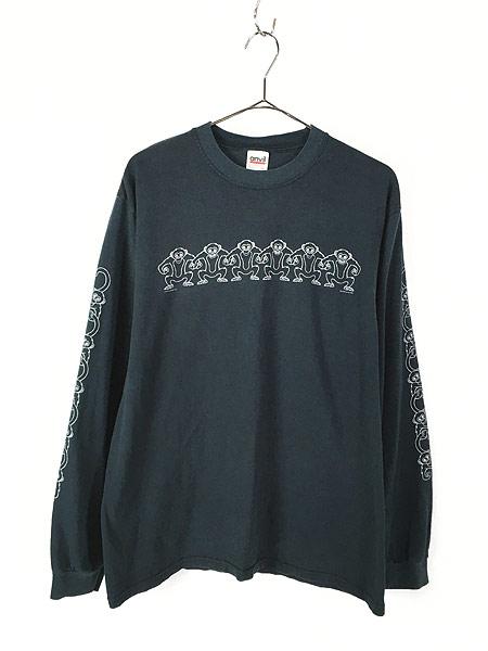 [1] 古着 00s サル モンキー アニマル アート パターン ロング Tシャツ ロンT カットソー 黒 L 古着