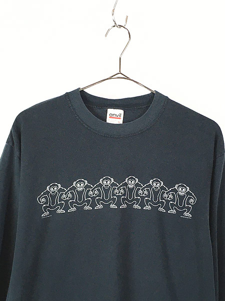 [2] 古着 00s サル モンキー アニマル アート パターン ロング Tシャツ ロンT カットソー 黒 L 古着