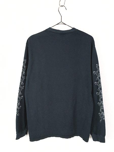 [3] 古着 00s サル モンキー アニマル アート パターン ロング Tシャツ ロンT カットソー 黒 L 古着