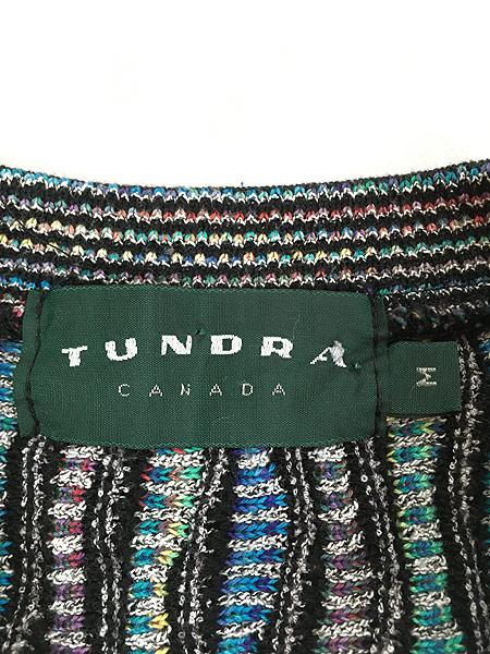 [5] 古着 CANADA製 TUNDRA ツンドラ COOGI風 カラフル 3D ランダム ストライプ コットン ニット セーター M 古着
