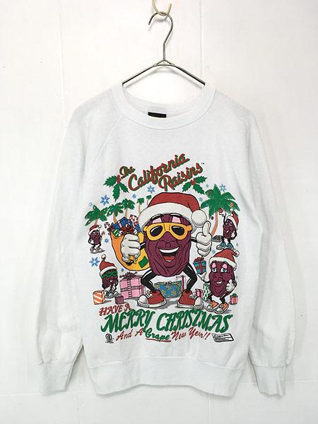 [1] 古着 80s USA製 California Raisins 「MERRY CHRISMAS」 クリスマス キャラクター スウェット M 古着