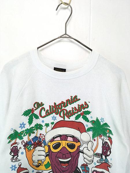 [2] 古着 80s USA製 California Raisins 「MERRY CHRISMAS」 クリスマス キャラクター スウェット M 古着