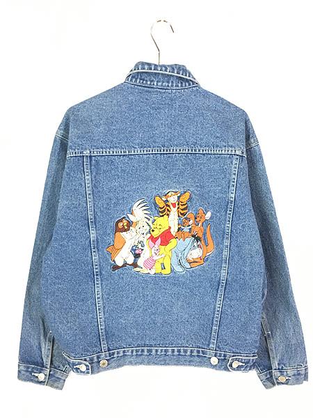 [3] 古着 Disney Pooh クマ プーさん キャラクター 刺しゅう デニム ジャケット Gジャン L位 古着
