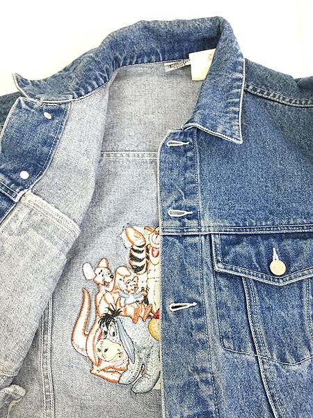 [5] 古着 Disney Pooh クマ プーさん キャラクター 刺しゅう デニム ジャケット Gジャン L位 古着
