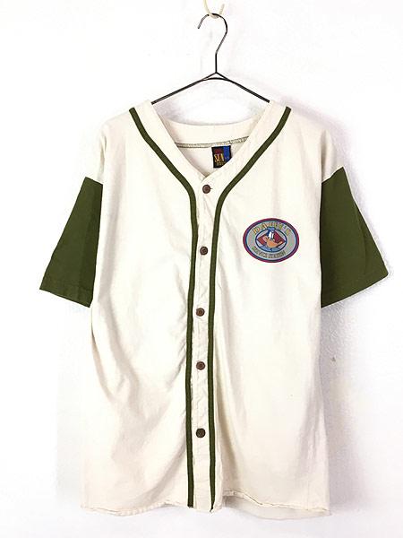 [1] 古着 90s USA製 LOONEY TUNES DAFFY DUCK ダフィー ダック キャラクター ベースボール シャツ L 古着