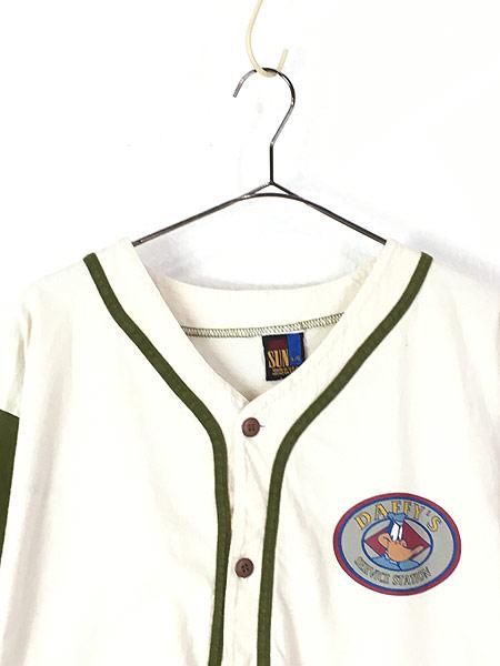 [2] 古着 90s USA製 LOONEY TUNES DAFFY DUCK ダフィー ダック キャラクター ベースボール シャツ L 古着