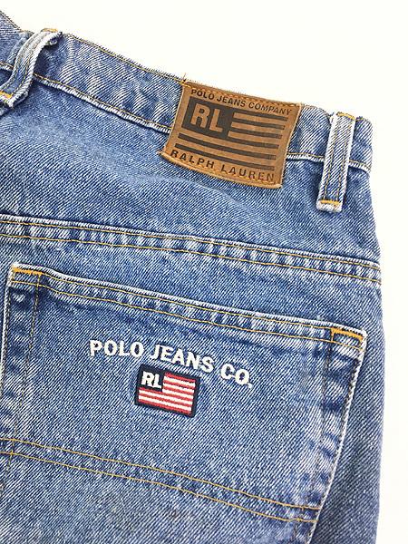 [6] 古着 POLO JEANS Ralph Lauren 5ポケット デニム パンツ ジーンズ 太ストレート W32 L29.5 古着
