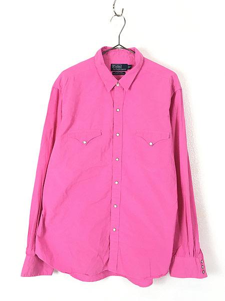[1] 古着 POLO Ralph Lauren 「RL WESTERN」 ソリッド コットン ウエスタン シャツ ピンク XL 古着