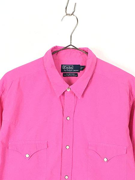 [2] 古着 POLO Ralph Lauren 「RL WESTERN」 ソリッド コットン ウエスタン シャツ ピンク XL 古着