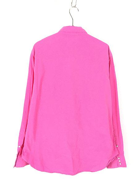 [3] 古着 POLO Ralph Lauren 「RL WESTERN」 ソリッド コットン ウエスタン シャツ ピンク XL 古着
