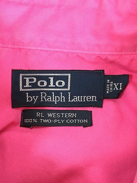 [5] 古着 POLO Ralph Lauren 「RL WESTERN」 ソリッド コットン ウエスタン シャツ ピンク XL 古着