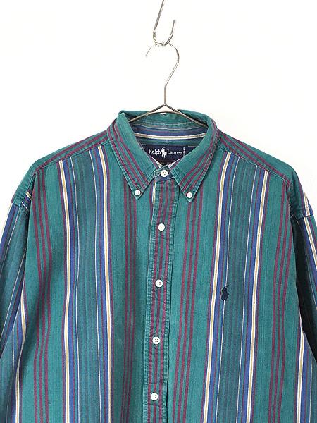 [2] 古着 90s Ralph Lauren ラルフ ワンポイント マルチ ストライプ コットン BD シャツ L 古着