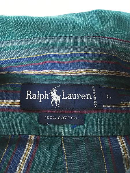 [5] 古着 90s Ralph Lauren ラルフ ワンポイント マルチ ストライプ コットン BD シャツ L 古着