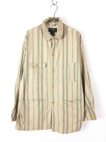 [1] 古着 90s USA製 POLO Country Ralph Lauren ポロカン マルチ ストライプ ワーク カバーオール L 古着