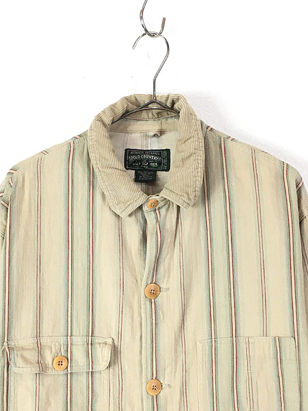 [2] 古着 90s USA製 POLO Country Ralph Lauren ポロカン マルチ ストライプ ワーク カバーオール L 古着