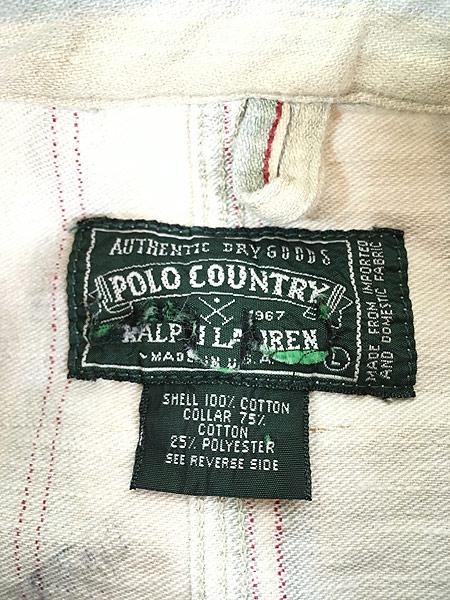 [5] 古着 90s USA製 POLO Country Ralph Lauren ポロカン マルチ ストライプ ワーク カバーオール L 古着